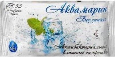 Салфетки влажные Аквамарин Без запаха 15шт 1/120
