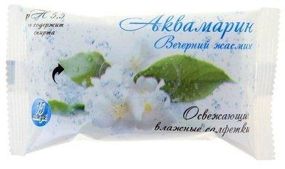 Салфетки влажные Аквамарин Вечерний жасмин 15шт 1/120
