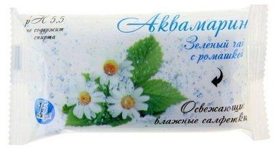 Салфетки влажные Аквамарин Зеленый чай с ромашкой 15шт 1/120