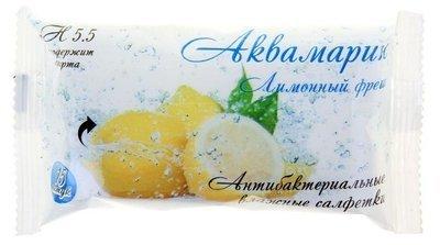 Салфетки влажные Аквамарин Лимонный фреш 15шт 1/120