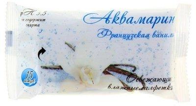Салфетки влажные Аквамарин Французская ваниль 15шт 1/120