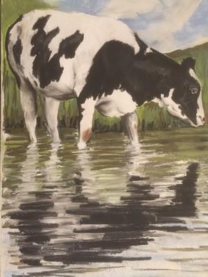 Cow Bathing - A4 Pastel Sketch