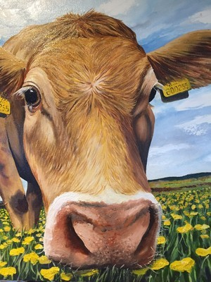 Daisy Cow on Canvas (A3)