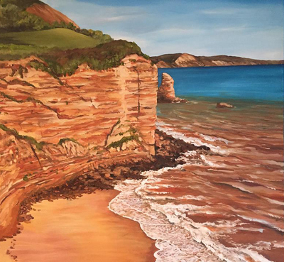 Sand Stone Cliffs with Sidmouth Town in the Distance (A3)