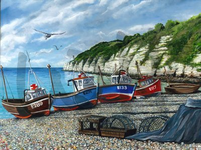 Fishing Boats at Beer Harbour (A3)