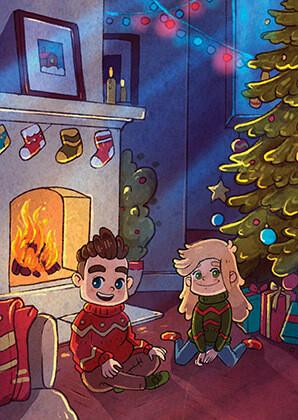 """Открытка """"У камина в Новый год"""""""