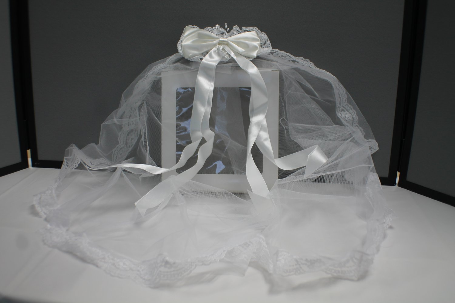 First Communion Girl Veil - with clip on satin bow