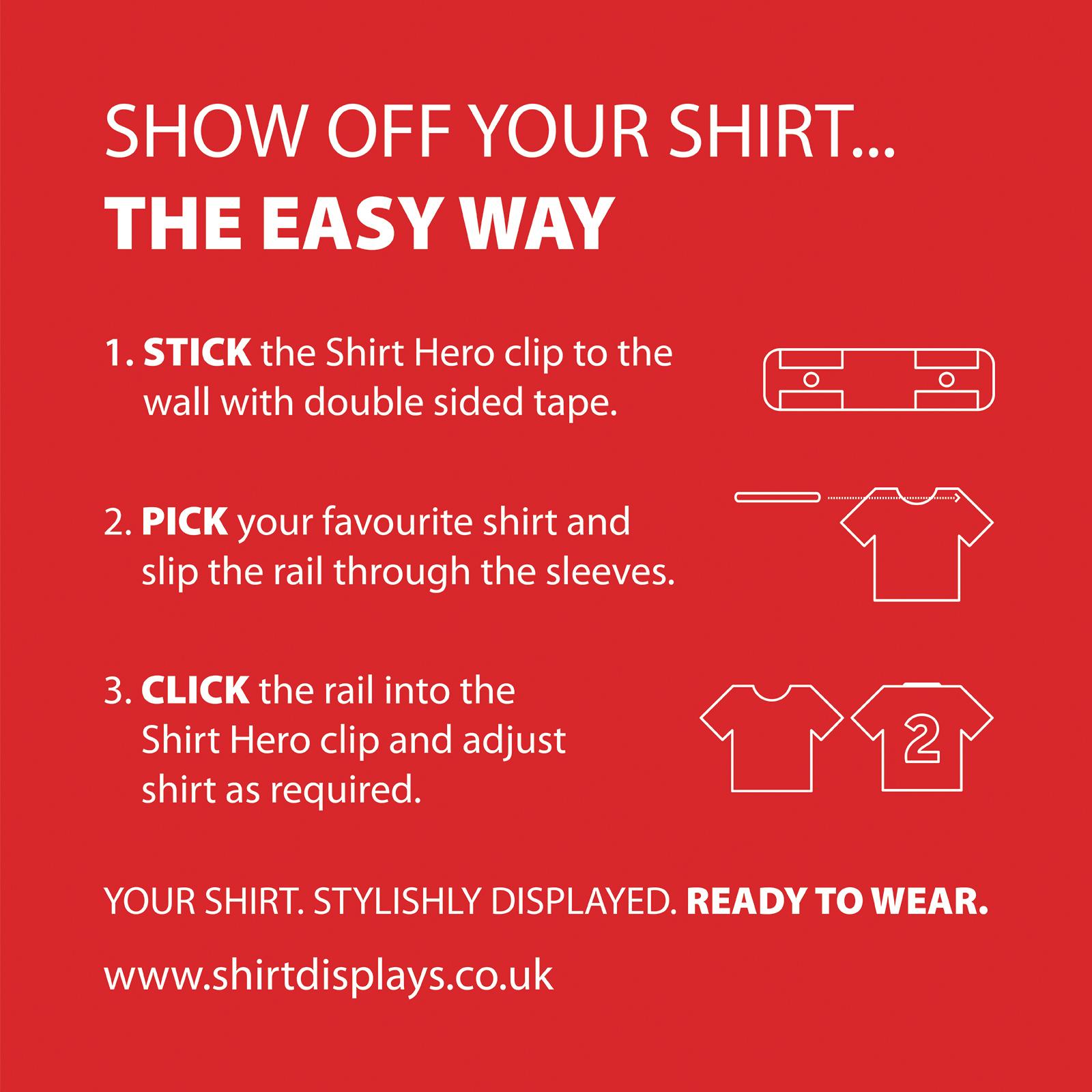 SHIRT HERO Shirt Display 3 PACK (Red & White)
