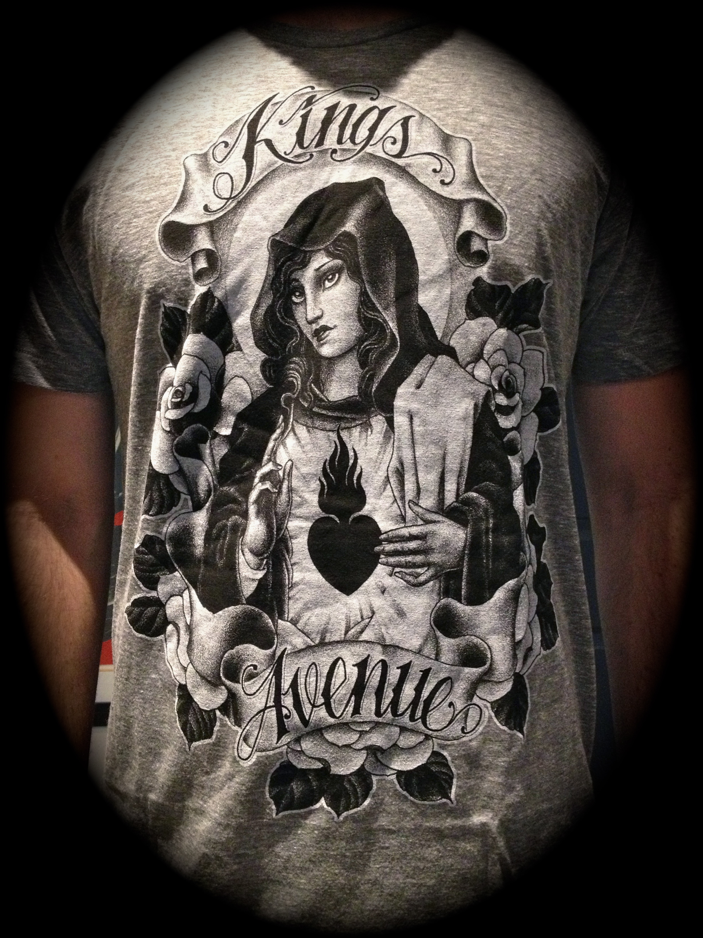Mary and Roses T-shirt: Athletic Gray 00049