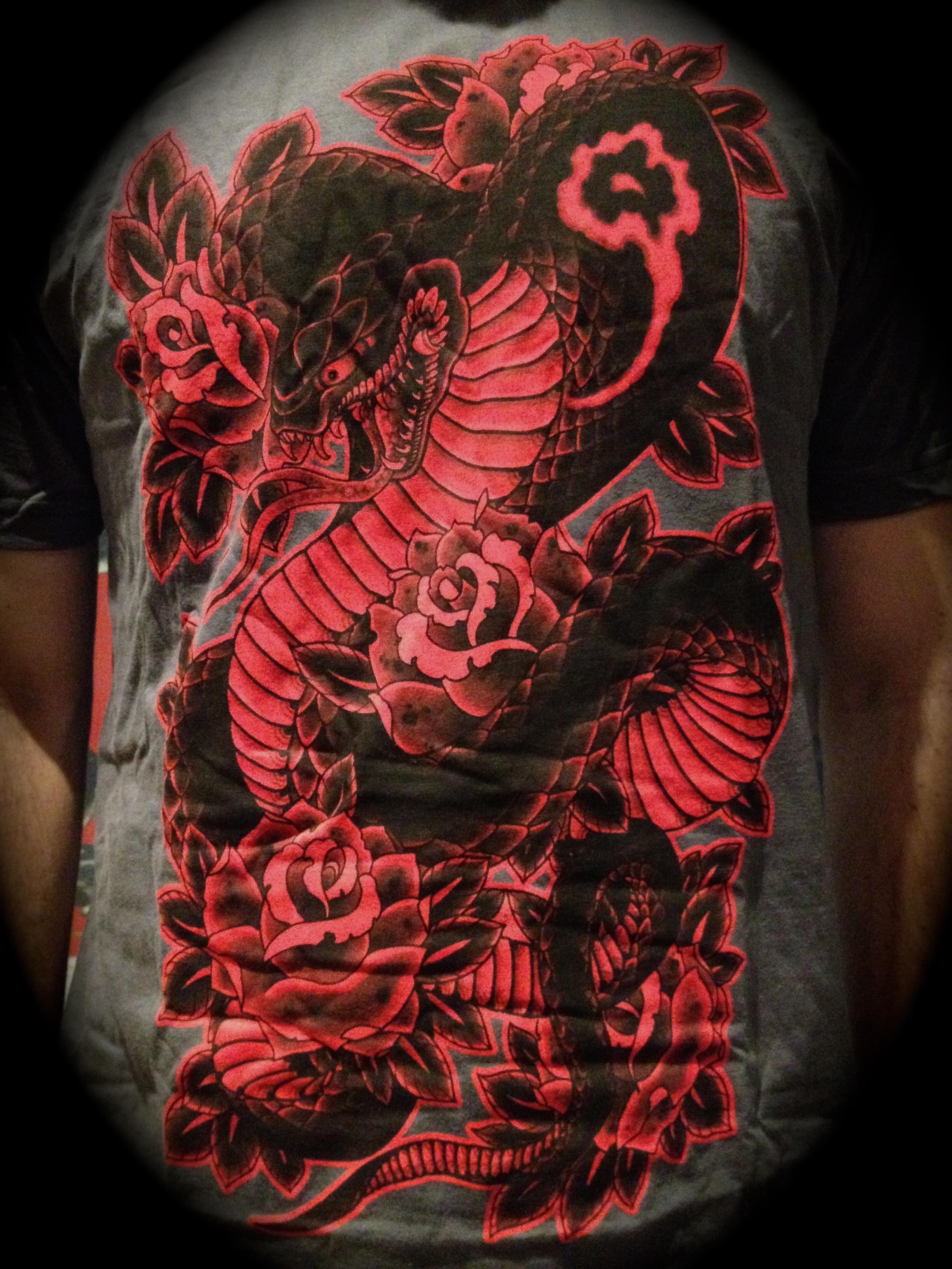 Cobra & Roses T-shirt: Asphalt Gray/Black & Red 00095