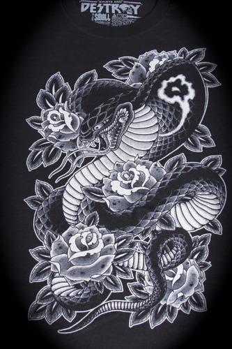Cobra & Roses T-shirt: Black 00019