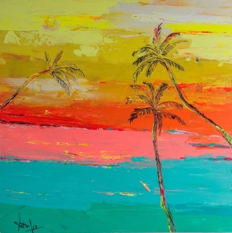 "HAWAII SUNSET  (36"" X 36"")"