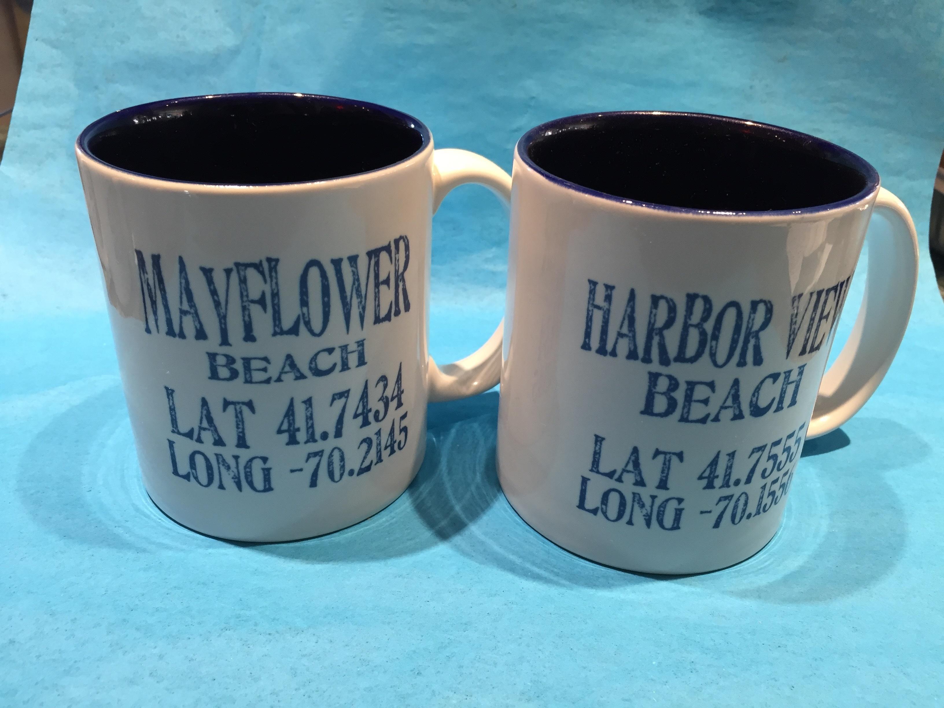 Latitude/ Longitude Mugs -Set of 4