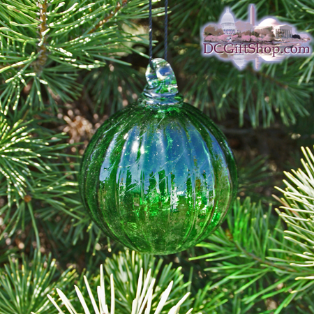 "Ornaments - Glass - Lime Green Crystal Optic 3"" Ball"
