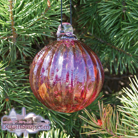 "Ornaments - Glass - Cranberry Red Crystal Optic 3"" Ball"