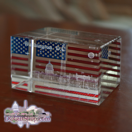 Gifts - Glass Etch - Washington DC American Flag