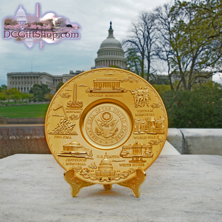 Gifts - Plate - Washington DC Landmark Gold Souvenir