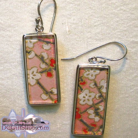 Gifts - Cherry Blossoms - Japanese Washi Paper Earrings/Sterling Silver