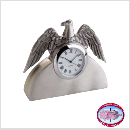 Gifts - Desk Accessories - Pewter Eagle Clock