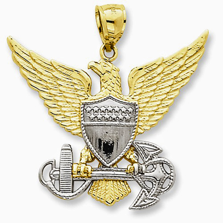 14K Yellow and White Gold US Navy Eagle Pendant