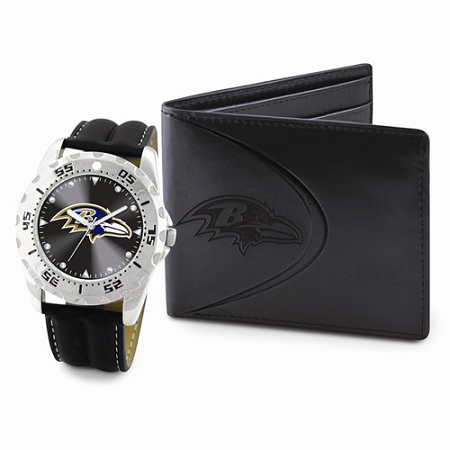 Mens NFL Baltimore Ravens Watch & Wallet Set