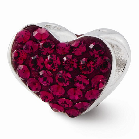 Sterling Silver Reflections Red Swarovski Elements Heart Bead