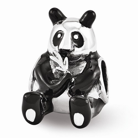 Sterling Silver Reflections Black Enamel Mama Panda Bead