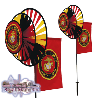 Gifts - Summer - U.S. Marine Corps Duel Spinner Wheels w/ Flag