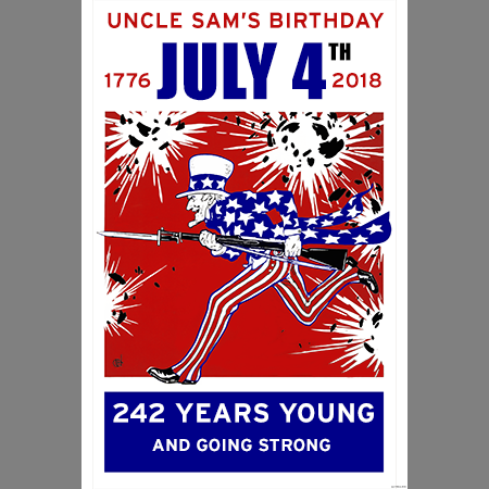July 4th 2018 Uncle Sam Birthday Print