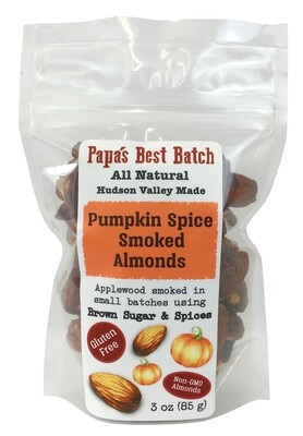 NEW! Pumpkin Spice Smoked Almonds 3 oz Bag -  Gluten Free, All Natural, Non-GMO Nuts