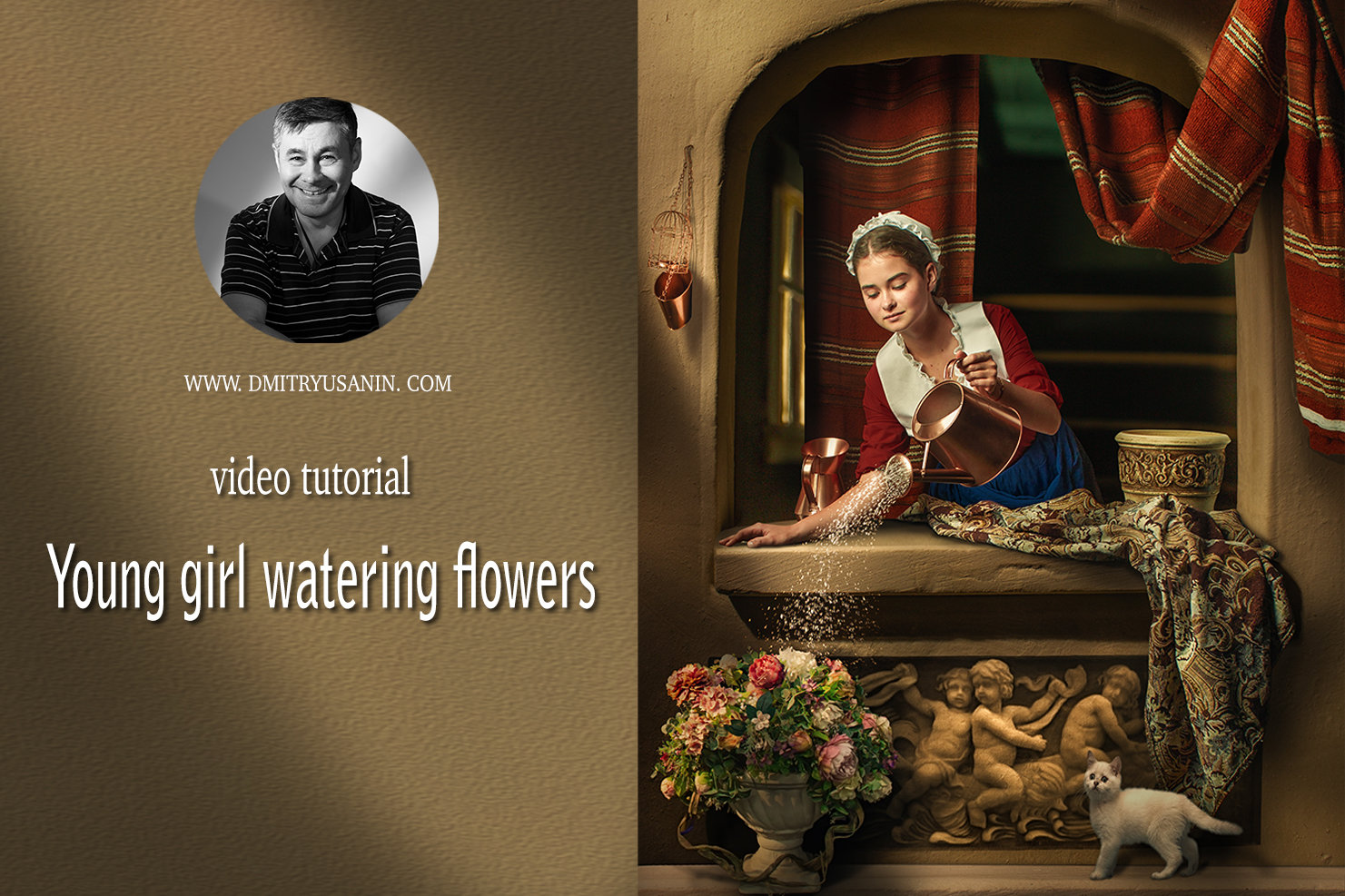 """Video lesson """"Young Girl watering flowers"""""""