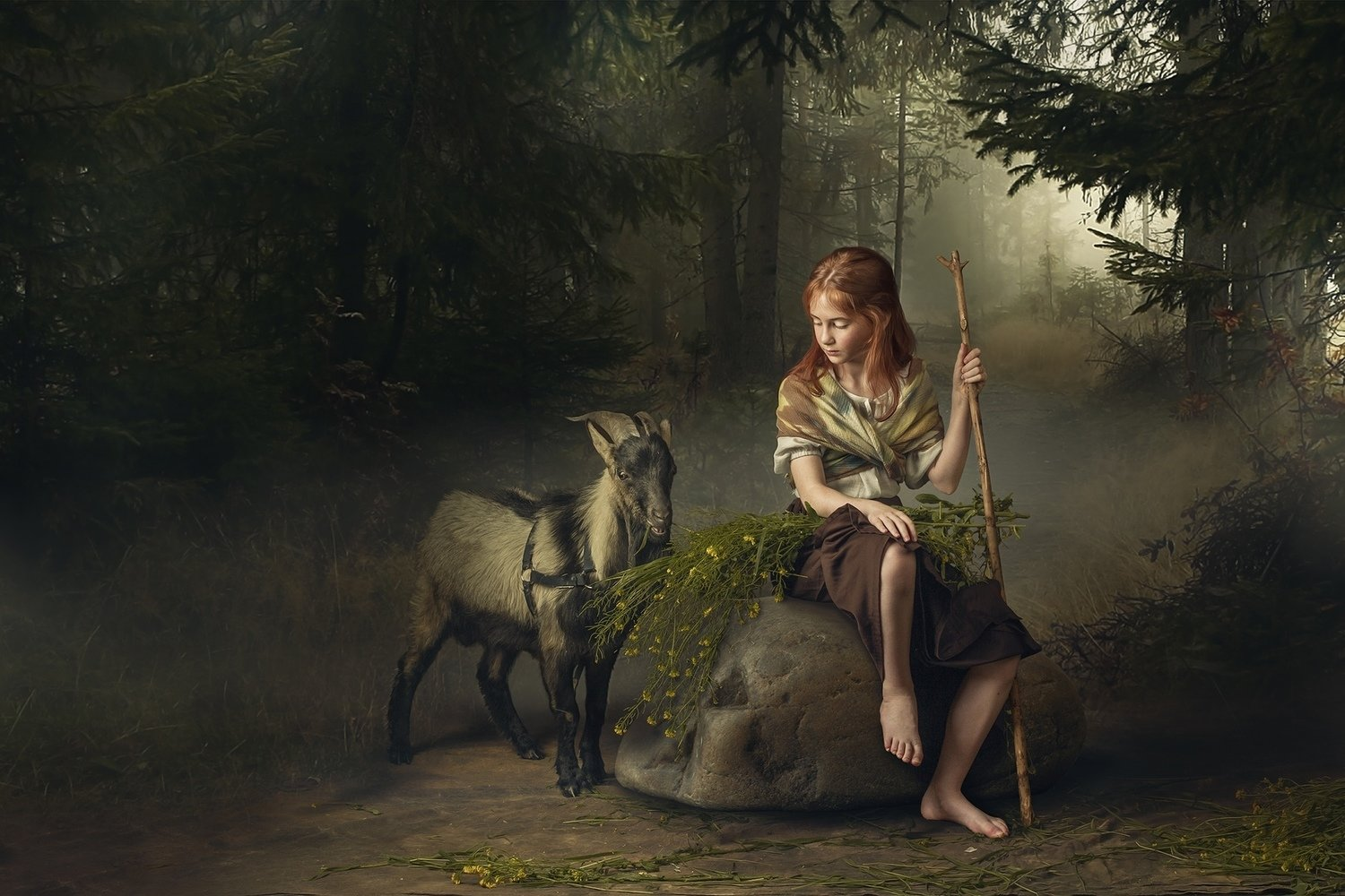 """Video lesson """"Girl with goat&flowers"""""""