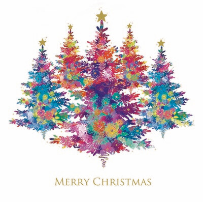 NEW FOR 2019 -Colourful Christmas Trees - pack of ten