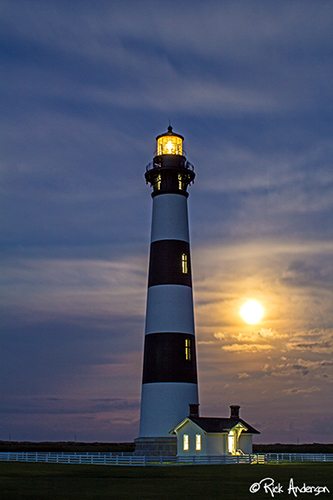 """Supermoon"" - Bodie Island Lighthouse"