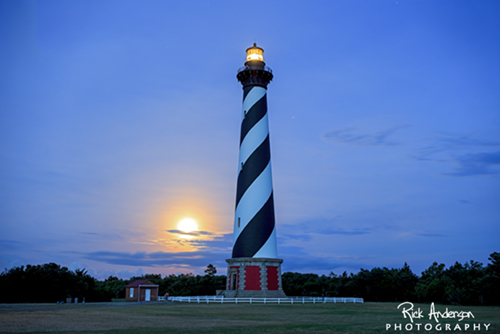 Full Moon Rising - Cape Hatteras Lighthouse