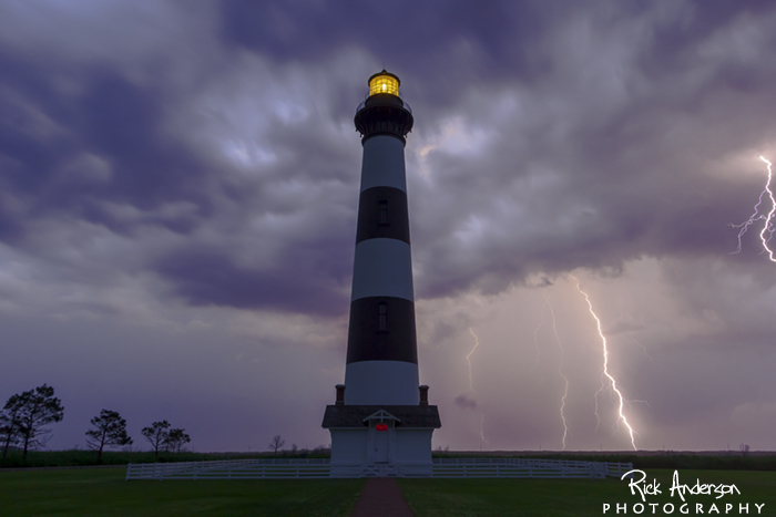 Lightning at Bodie Island Lighthouse
