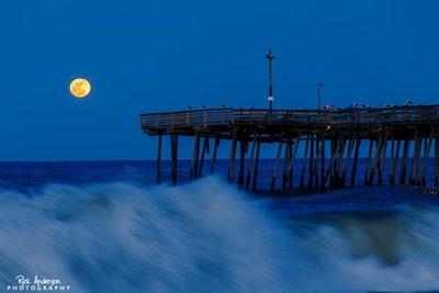 Full Moon Rising at Avalon Pier