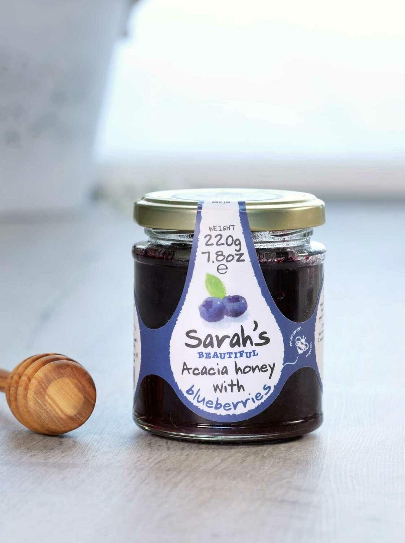 Sarah's Beautiful Acacia Honey with Blueberries