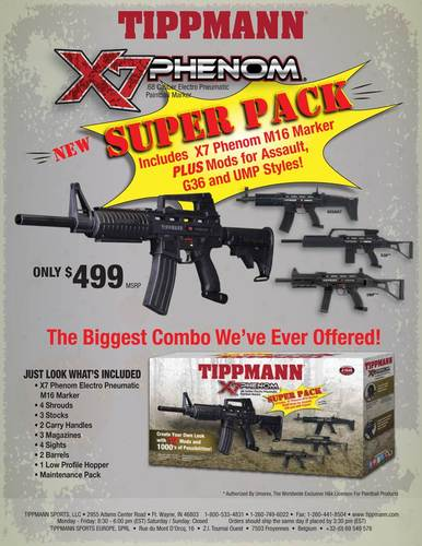 Tippmann M16 X7 Phenom Electronic + Pneumatic Paintball Marker SUPER PACK