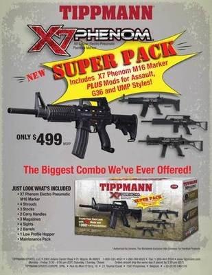 Tippmann M16 X7 Phenom Electronic + Pneumatic Paintball Marker SUPER PACK