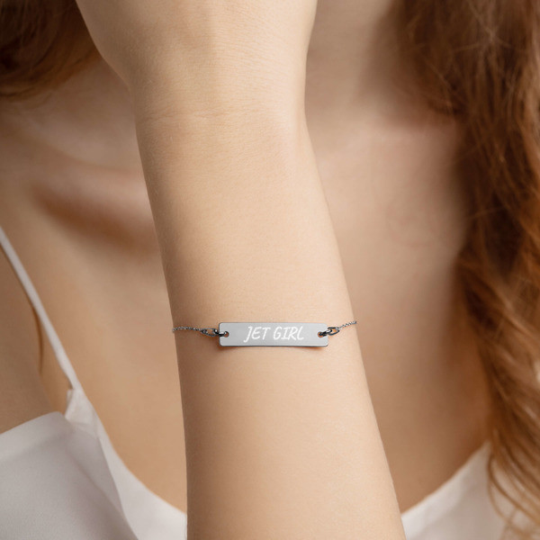 Jet Girl Engraved Silver Bar Chain Bracelet