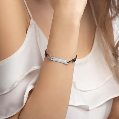 JET RIDER Engraved Silver Bar String Bracelet