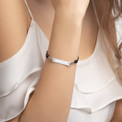 Guilty Engraved Silver Bar String Bracelet
