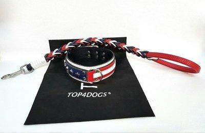 Kit Americano con guinzaglio a treccia. Altezza collare 6 cm / collar height 2,36 in