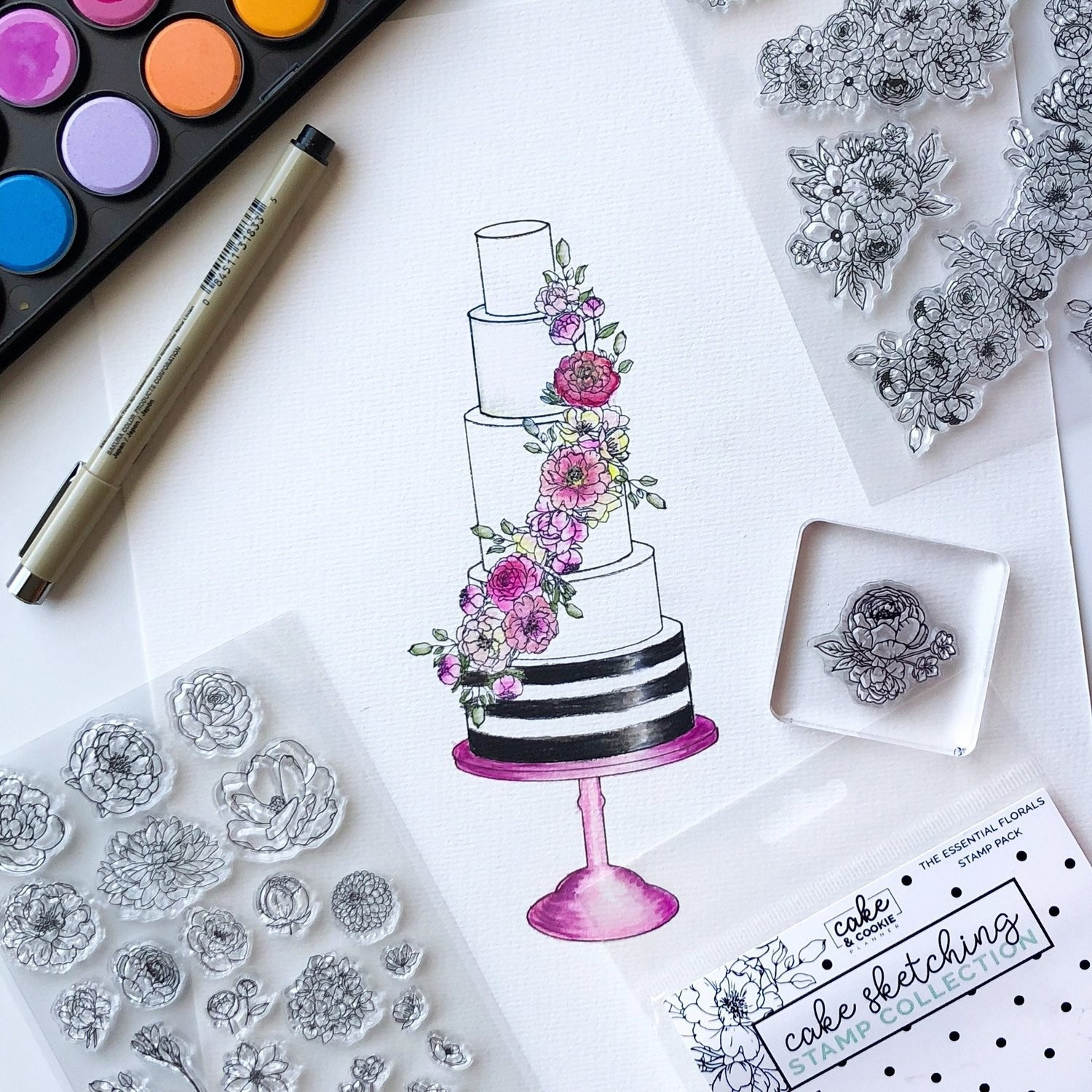Floral Essentials Cake Sketching Stamps