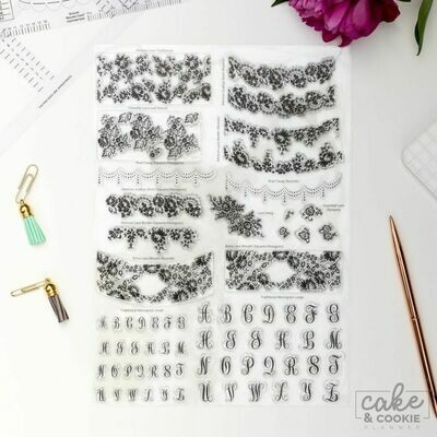 Cake Sketching Stamps - Lace and Monogram