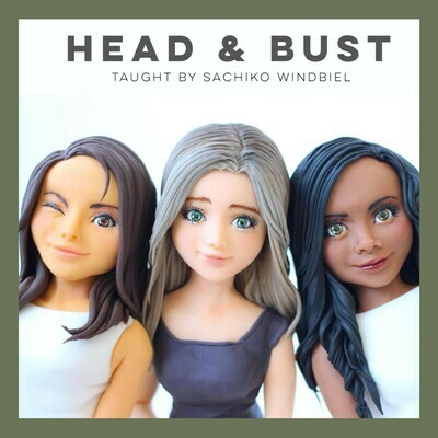 MODELING CLASS: Head & Bust Fondant Figures by Sachiko Windbiel. Sunday, Oct 27th from 2:30pm to 6:30pm   $195