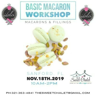 Basic Macaron Hands-On Workshop #2 with Idolce! Monday NOV 18th from 10:00 AM to 2:00 PM Only $120 ALL INCLUSIVE!