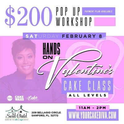 STILL AVAILABLE- REGISTER NOW: https://www.yourcakediva.com/ Valentine's Cake Workshop with Porsha Kimble: Saturday, Feb 8th 11am to 2pm. $200