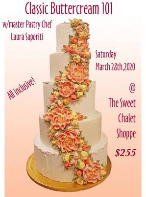 Buttercream 101 and Introduction to Russian Nozzles; All-day Intensive Workshop with Laura Saporiti on Saturday MARCH 28th, 2020 9:30 am to 6:30 pm